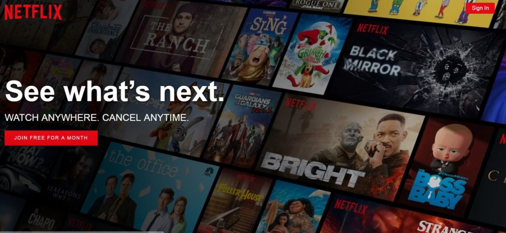 Netflix video streaming free month